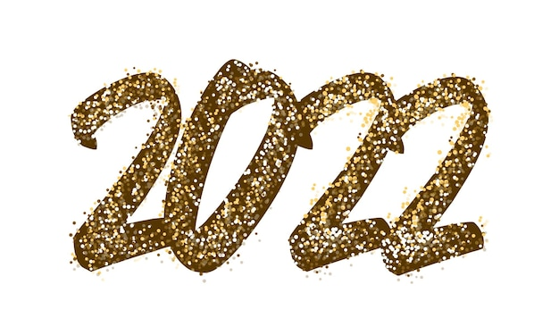 2022 letras de feliz ano novo. texto dourado com brilhos brilhantes. letras de texto manuscritas em tinta e cor ouro. modelo de design festivo, cartão, cartaz, banner. ilustração vetorial
