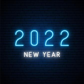 2022 letreiro de néon de ano novo