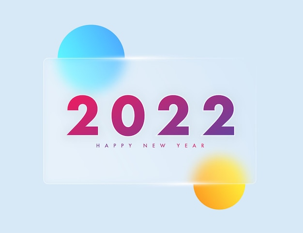 2022 modelo de conceito de morfismo de vidro de feliz ano novo