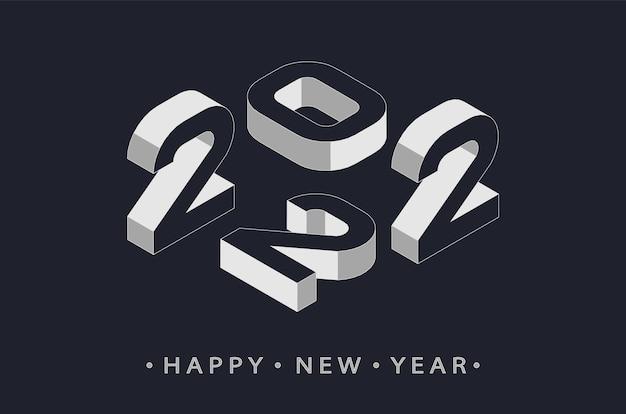 2022 números 3d. celebração de ano novo feliz para panfletos, cartazes, sinal de decoração de negócios, folheto, cartão, banner, cartão postal. ilustração vetorial.