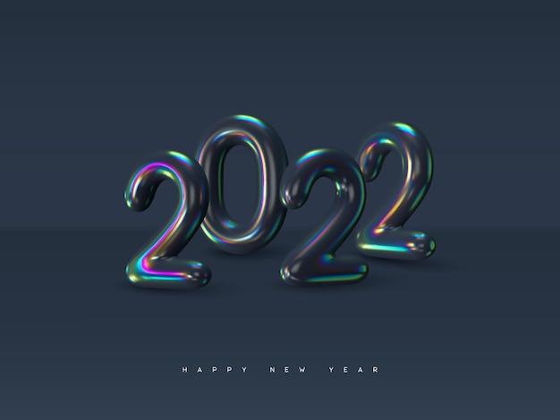 2022 sinal de ano novo. números iridescentes metálicos 3d