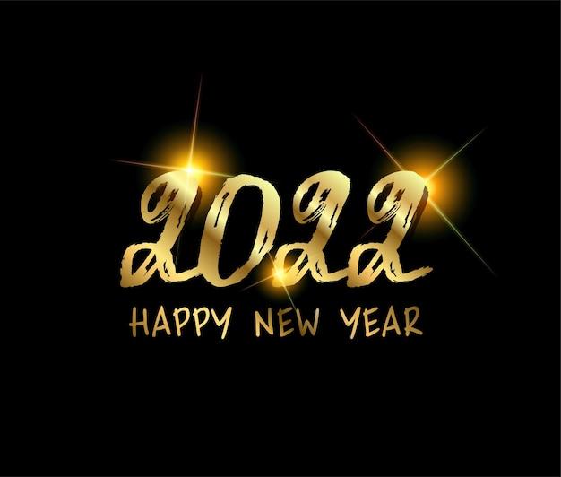 2022 texto do roteiro de feliz ano novo com letras à mão modelo de design cartaz com tipografia de celebração