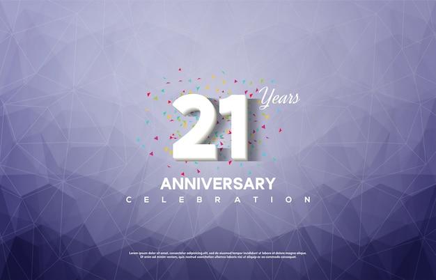 21º aniversário com números brancos sobre um fundo azul cristalino. Vetor Premium