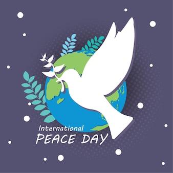 21 de setembro, dia internacional da paz. conceito de ilustração apresenta mundo de paz.