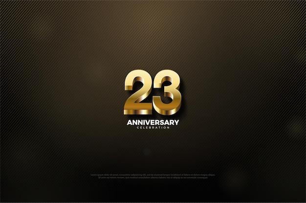 23º aniversário com belas ilustrações de números dourados