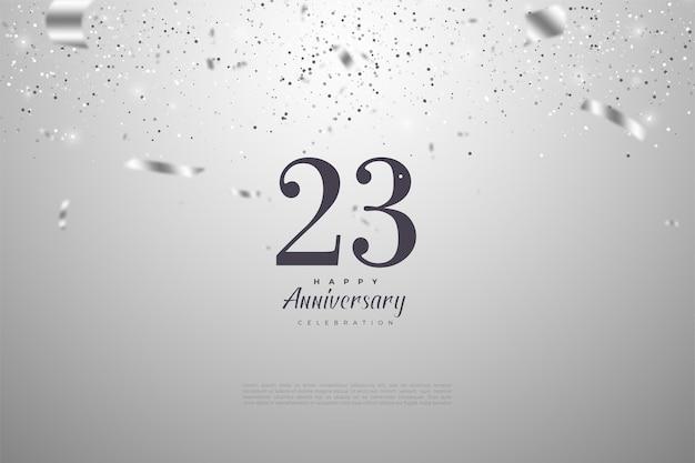 23º aniversário com fita de prata e ilustração de números