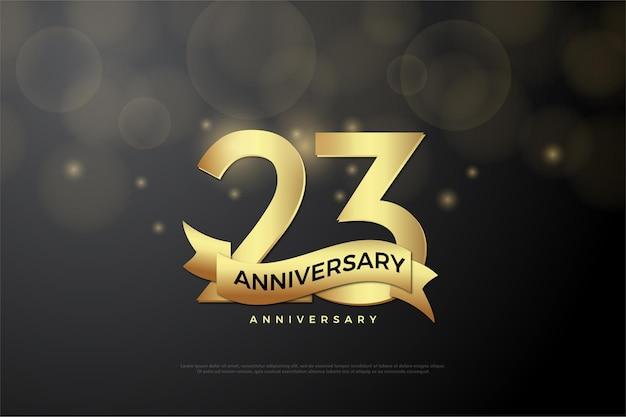 23º aniversário com ilustração de desenho de número plano