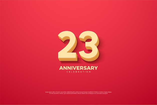 23º aniversário com ilustração de número exclusivo