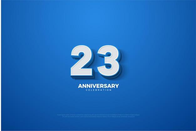 23º aniversário com ilustração de números 3d em relevo