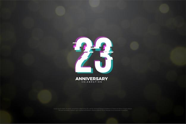 23º aniversário com números brancos
