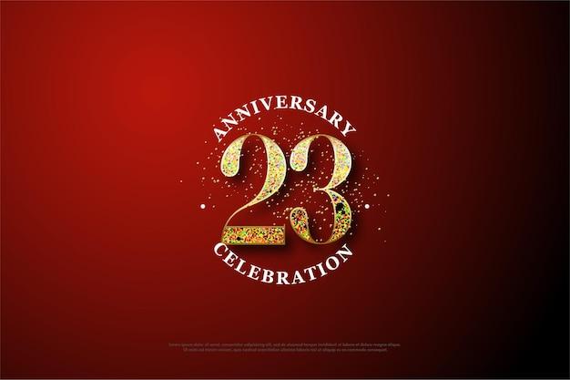 23º aniversário com números formados de glitter