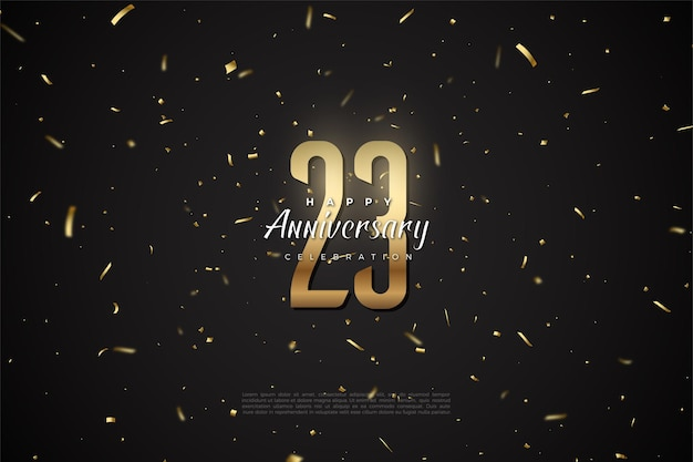 23º aniversário com pontos dourados e ilustração de números