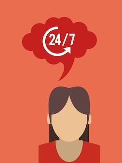24 7 serviço com o ícone de seta