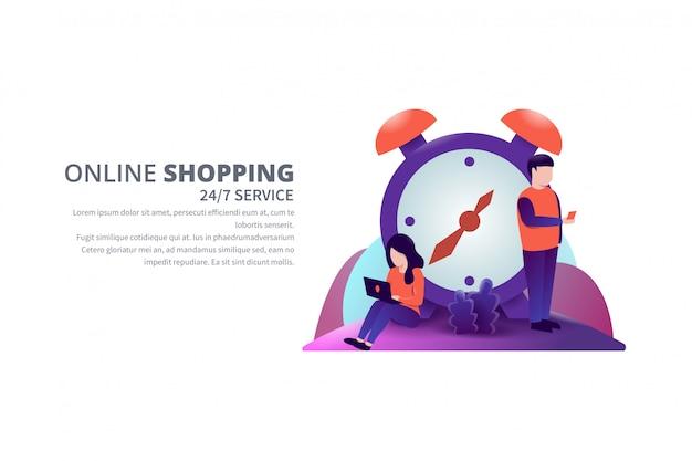 24/7 serviço on-line ilustração vetorial de compras com banner de modelo de texto