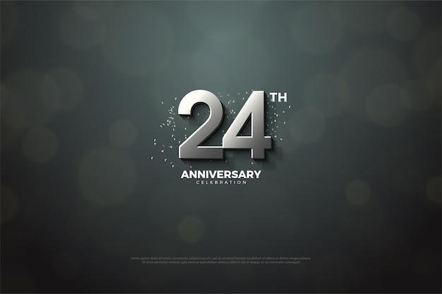 24º aniversário com algarismos 3d de prata