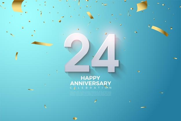 24º aniversário com diferentes números tridimensionais