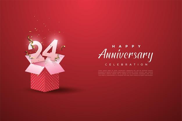 24º aniversário com ilustração de número em caixa de presente
