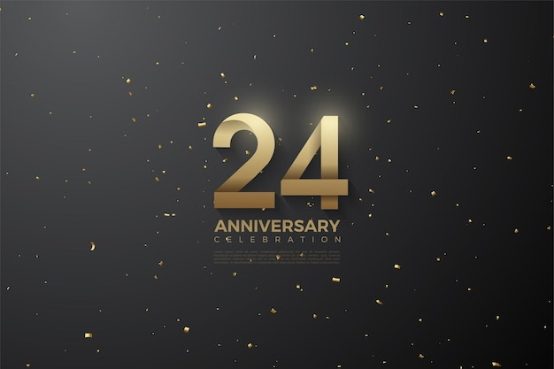24º aniversário com ilustração de número padronizado