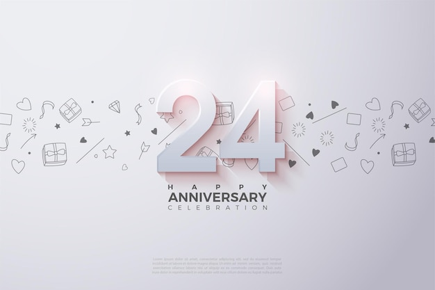 24º aniversário com números 3d