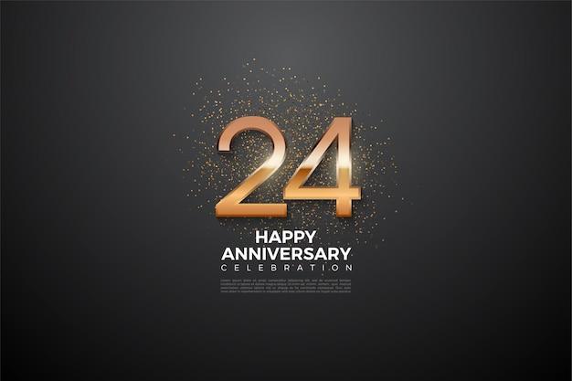 24º aniversário com números brilhantes