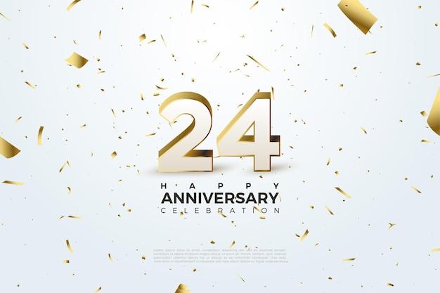24º aniversário com papel dourado espalhado por todo o fundo