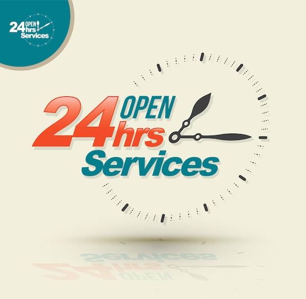 24 horas de serviços abertos.