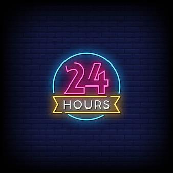24 horas de sinais de néon estilo texto
