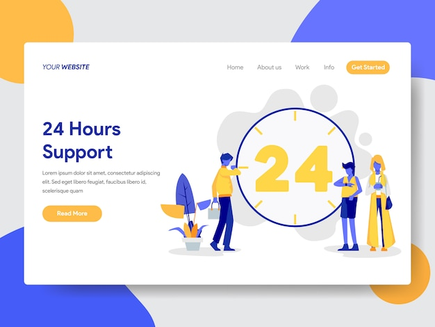 24 horas de suporte ao vivo ilustração para página da web