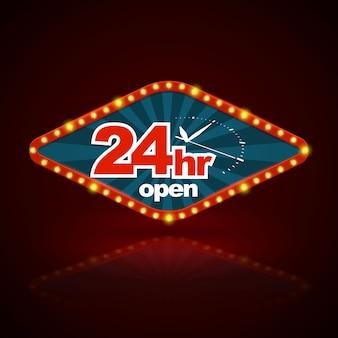 24hr aberto com estilo de luz retrô de faixa de relógio