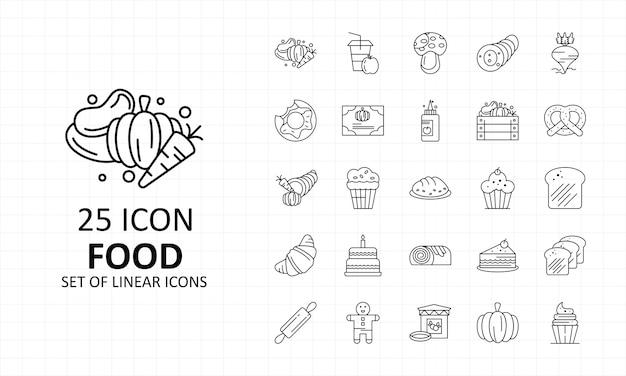 25 alimentos ícone folha pixel perfeito ícones