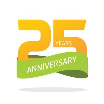 25 anos de aniversário comemorando o ícone do logotipo de vetor