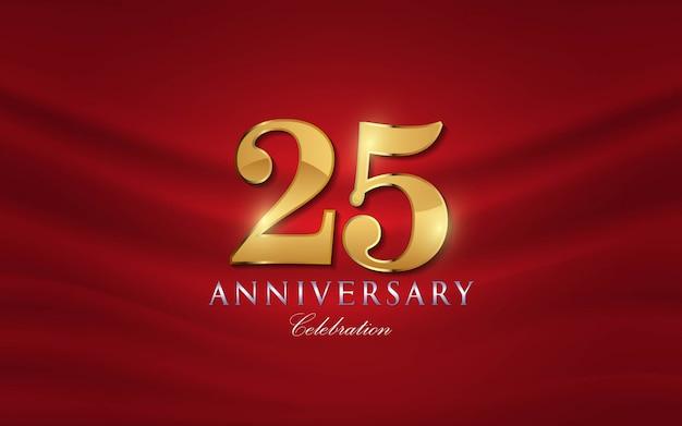 25 anos de números de aniversário em estilo dourado