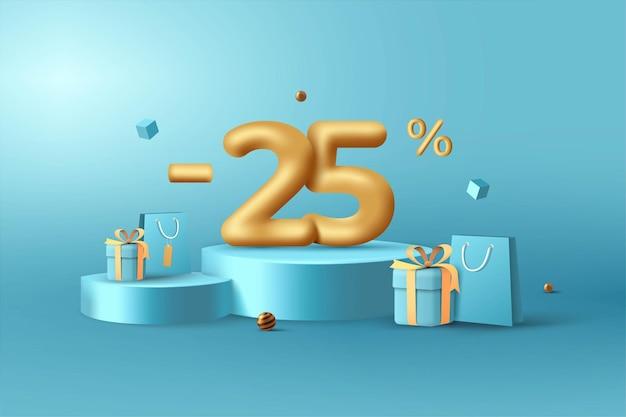 25% de desconto em números de desconto em ouro 3d no pódio com sacola de compras e caixa de presente