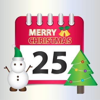 25 de dezembro calendário vermelho com um sino amarelo.