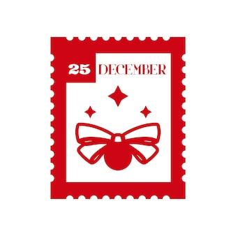 25 de dezembro selo postal de feriado elemento decorativo de design de natal para cartas