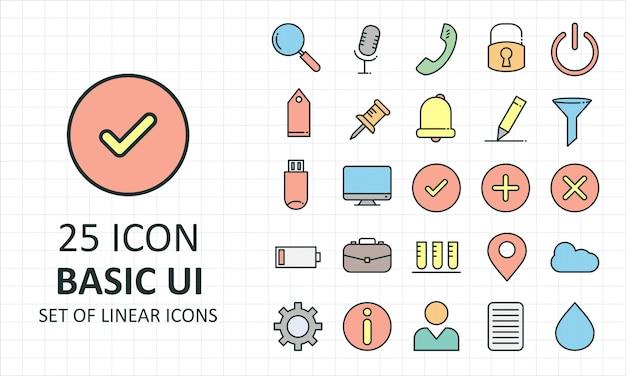 25 folha de ícones da interface do usuário básica preenchida