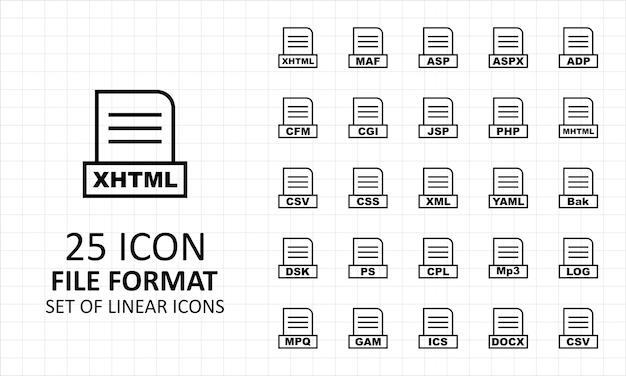25 folha de ícones de formato de arquivo linear