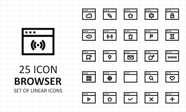 25 folha de ícones do navegador