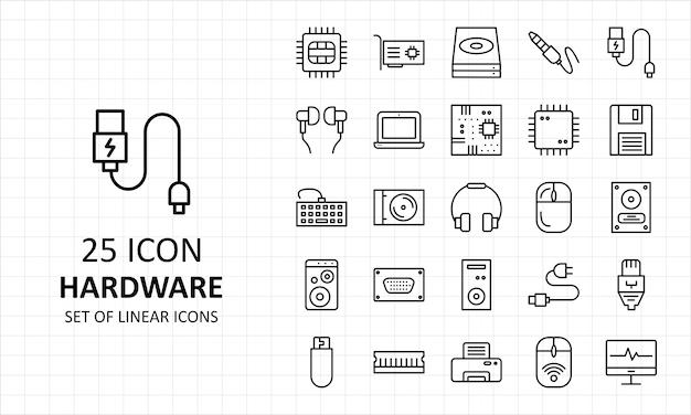 25 hardware ícone folha pixel perfeito ícones