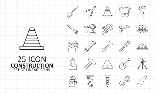 25 ícones de construção folha pixel perfeito