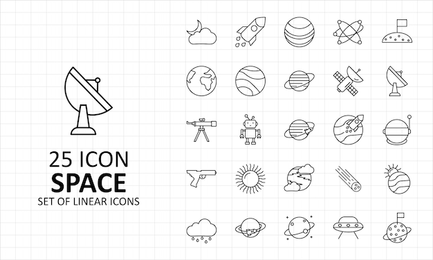 25 ícones de espaço folha pixel perfeito
