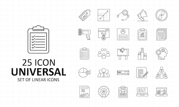 25 ícones universais de folha de ícone de pixel perfeito