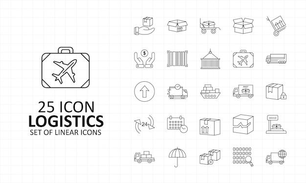 25 logística ícone folha pixel perfeito ícones