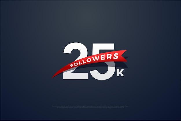 25 mil seguidores com ilustração de design de número simples