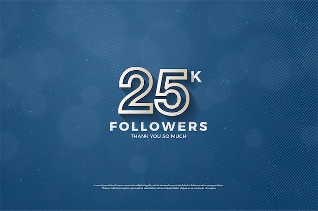25 mil seguidores com ilustração de figura de borda marrom