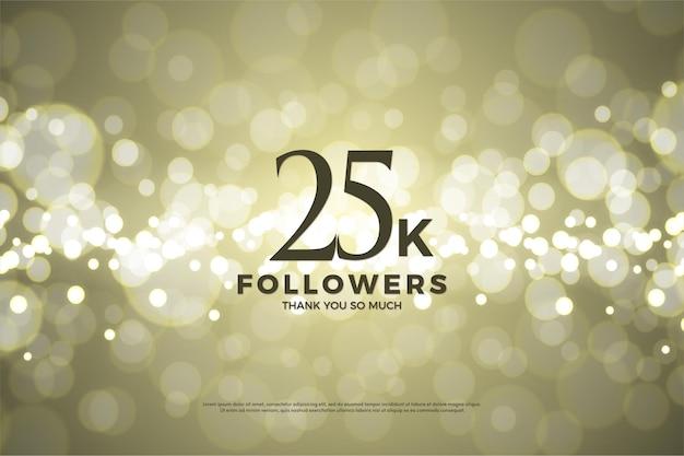 25 mil seguidores com ilustração de fundo de folha de ouro