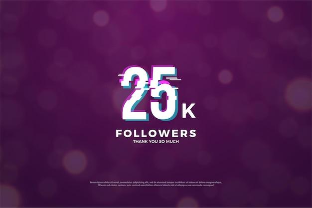 25 mil seguidores com ilustração de números 3d aparecendo no fundo