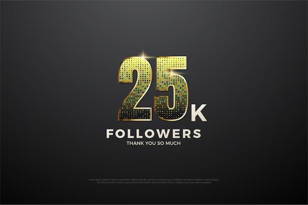 25 mil seguidores com ilustração de números brilhantes