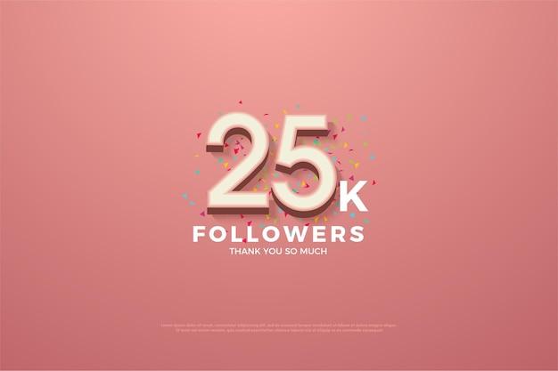 25 mil seguidores com ilustração numérica 3d branca