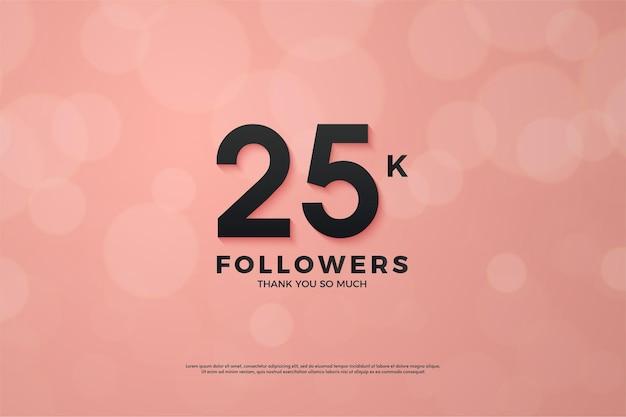 25 mil seguidores com um design único de número plano